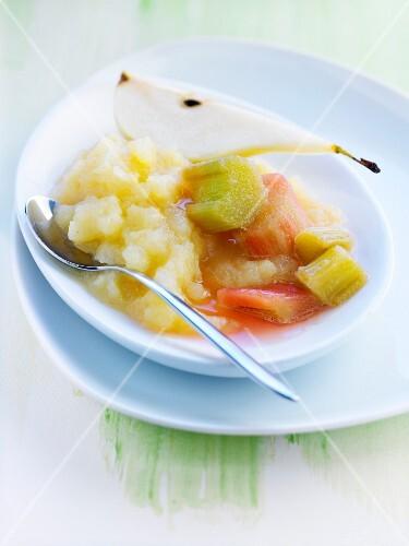 Stewed pears and rhubarb