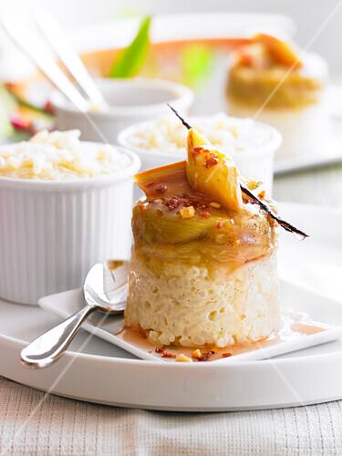 Rice pudding with rhubarb