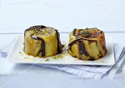 Individual eggplant Charlottes