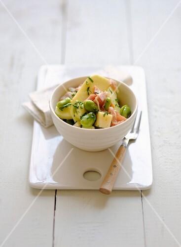 Apple,broad bean,raw ham and Tomme de brebis salad