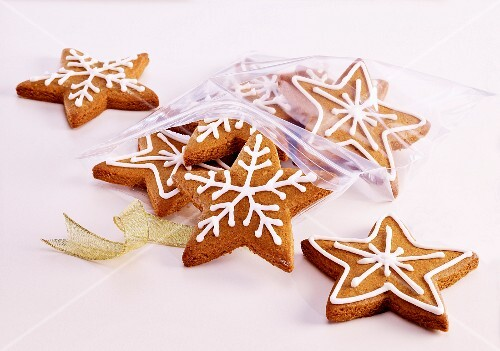 Star-shaped Christmas cookies in a plastic bag