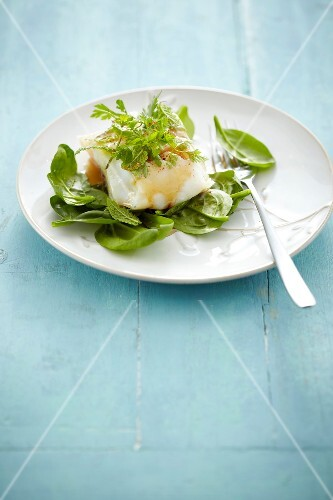 Steamed cod with fresh herbs and spinach