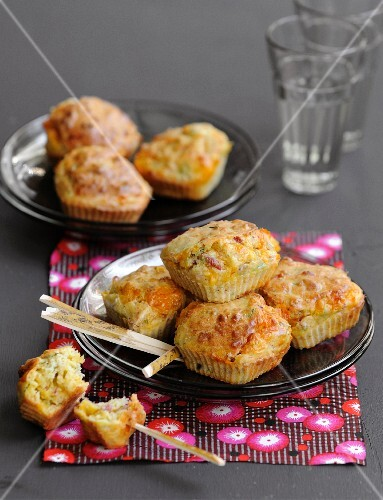 Mini cheddar,diced bacon and chive cakes