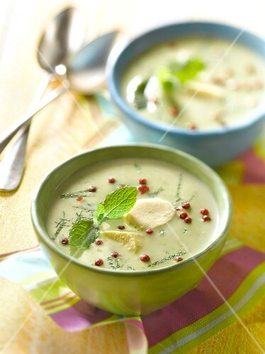 Zucchini and mint chilled soup,mini fish quenelles