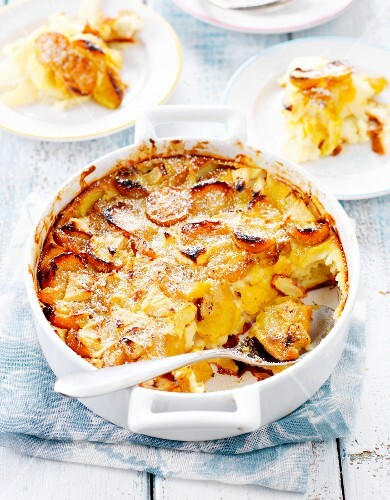Mirabelle plum,pear and grape batter pudding