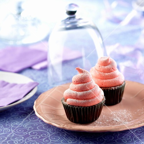 Chocolate cupcakes topped with raspberry meringue