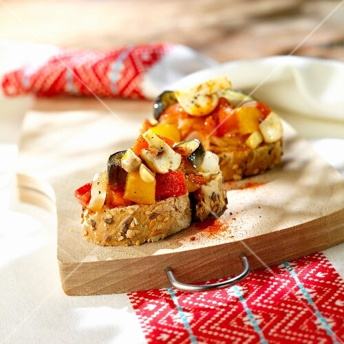 Vegetables with paprika on sliced bread,Roumania