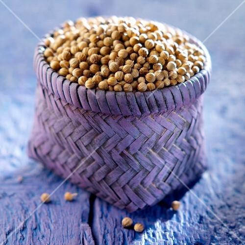 Small basket of coriander seeds