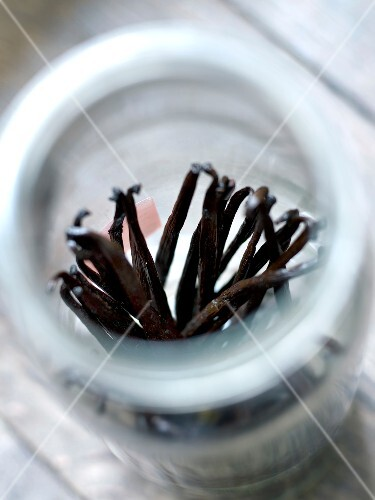 Jar of vanilla pods