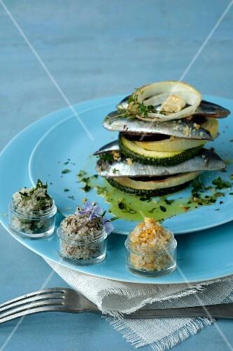Sardine,grilled vegetable and salt mille-feuille