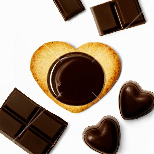 Heart-shaped biscuit with dark chocolate