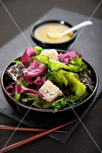 Two seaweed salad with diced tofu and two types of sesame