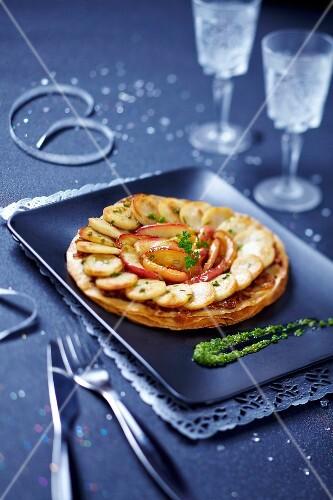 White sausage and apple tart