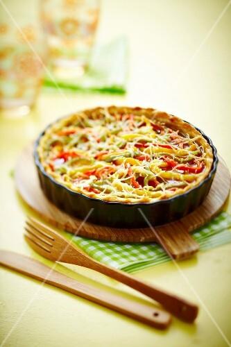 Three pepper savoury tart