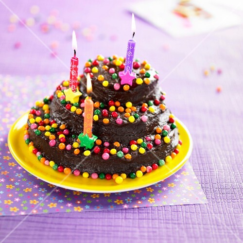 Chocolate and Smarties Birthday cake