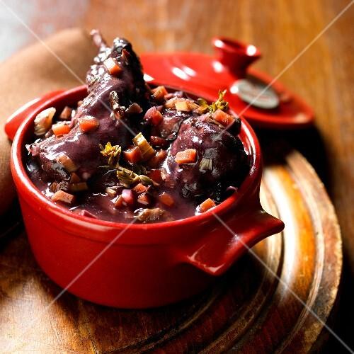 Rabbit and vegeatable red wine casserole