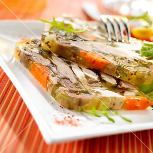 Pheasant and white wine aspic terrine