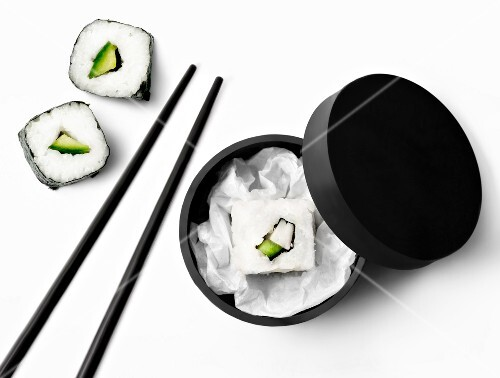 Square makis,round box and chopsticks