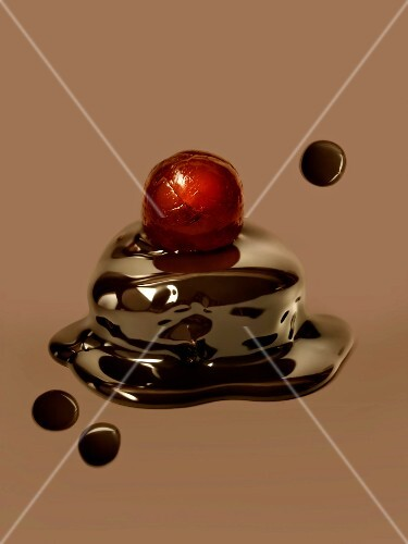 Chocolate with a candied cherry