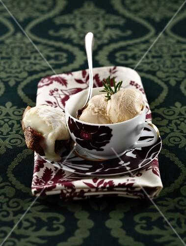 Rosemary ice cream and goat cheese tartine