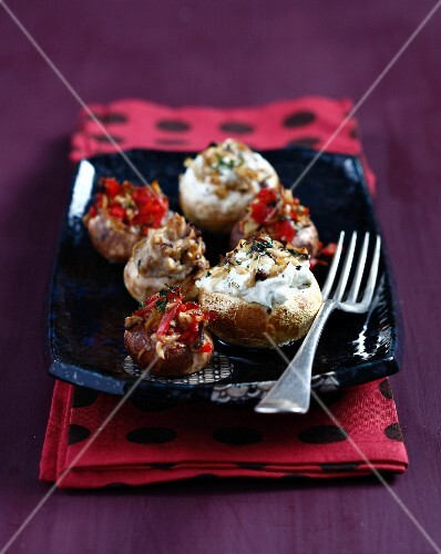 Mushrooms filled with chorizo and cream cheese
