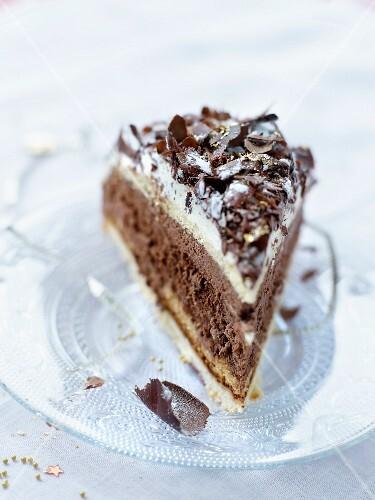 A slice of chocolate mocha cake