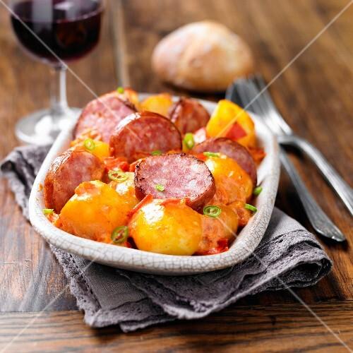 Toulouse sausage and saffron potato fricassée