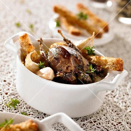 Roasted thrush with garlic toast