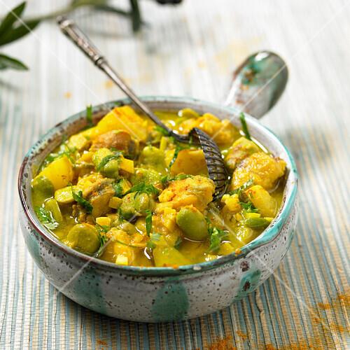 Silure glane carp,broad bean and potato curry