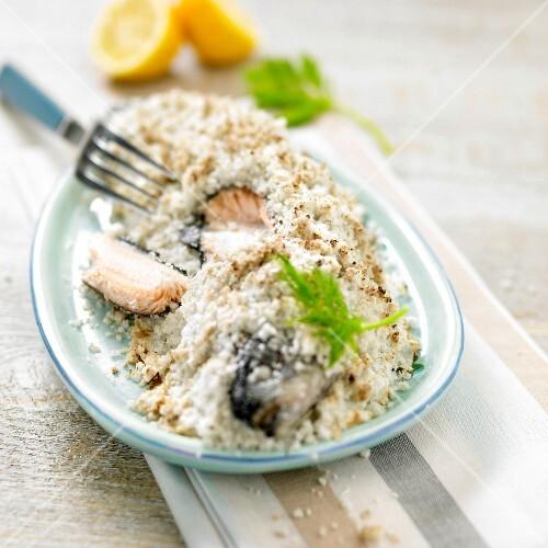 Trout in coarse salt crust