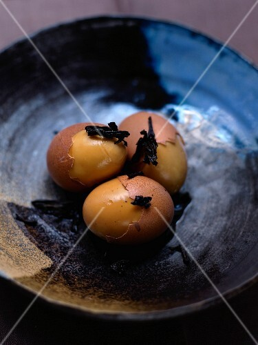 Soft-boiled eggs cooked in Wulong Shui Xian tea
