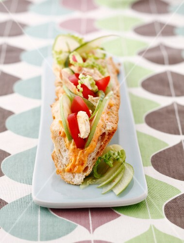 Chicken,Granny Smith apple and tomato sandwich with cocktail sauce