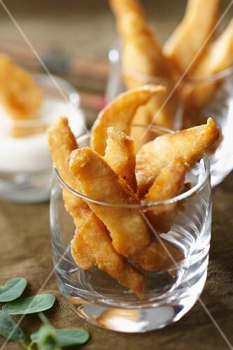Carp tempuras with horseradish dip