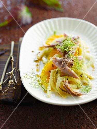 Orange,fennel and duck salad