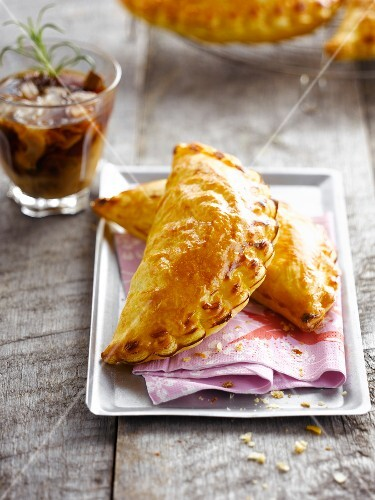 Apple turnovers with iced coffee