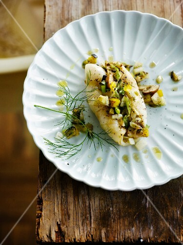 squid stuffed with chopped vegetables