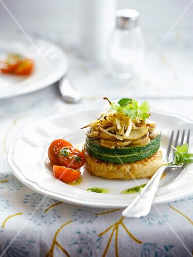 Tofu,zuuchini and mushroom Mille-feuille