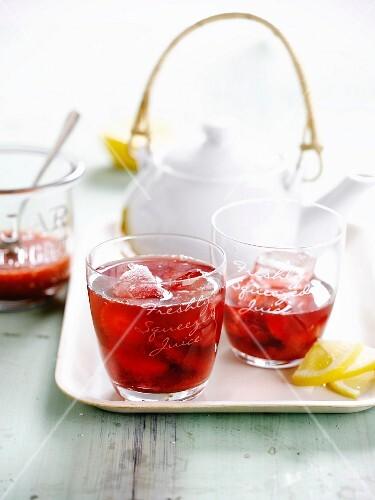 Hibiscus and raspberry juice