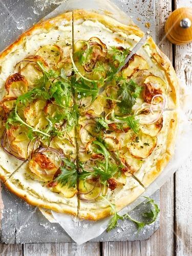 White turnip pizza