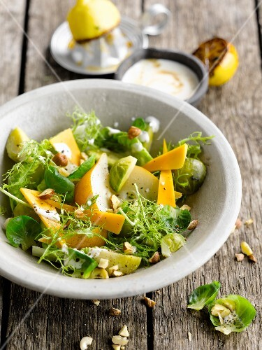 Brussels sprout,pear and Mimolette salad