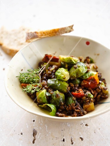 Lentils with brussels sprouts and tomatoes