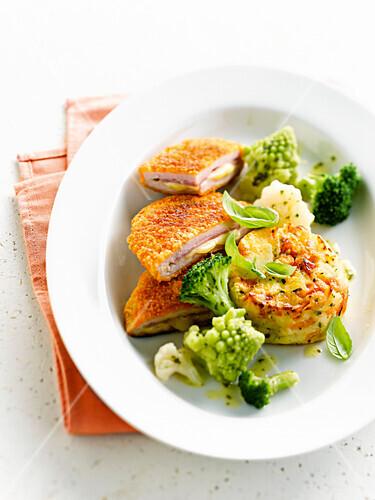 Cordons-bleu with a mini gratin Dauphinois,cauliflower and broccolis
