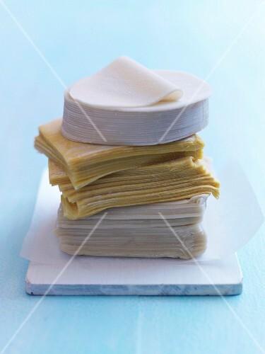 Stack of pasta for dumplings