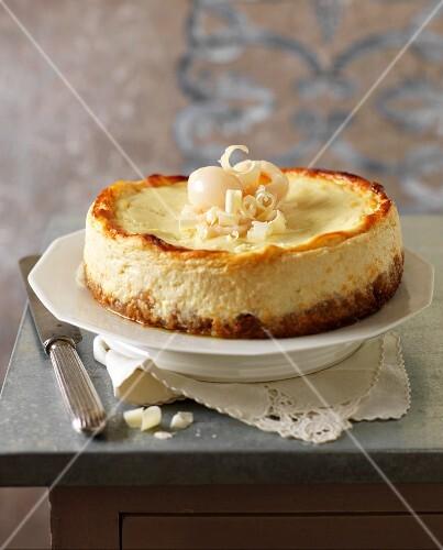 White chocolate and lychee cheesecake