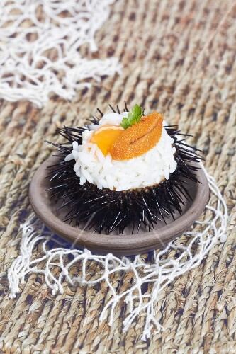 Rice with urchin roe and quail's egg served in and urchin