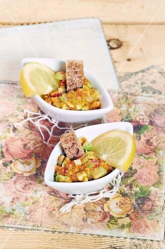 Marinated avocado,urchin roe and lemon salad
