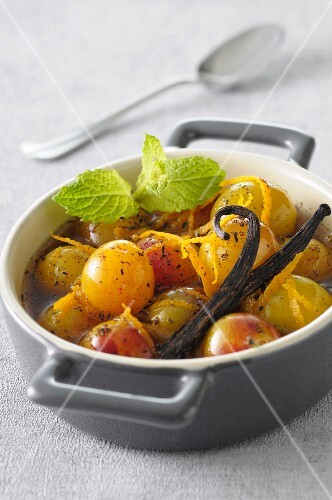 Mirabelle plum with honey,vanilla and orange zests