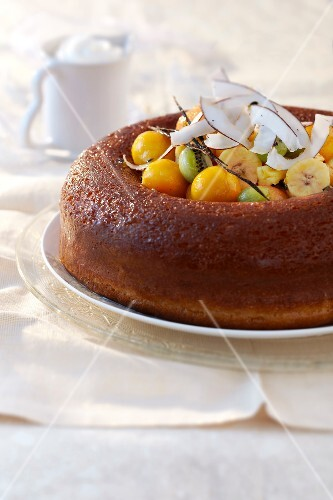 Rum Baba with fresh fruit
