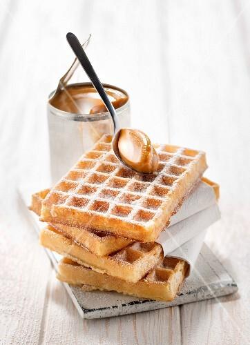 Waffles with homemade milk jam
