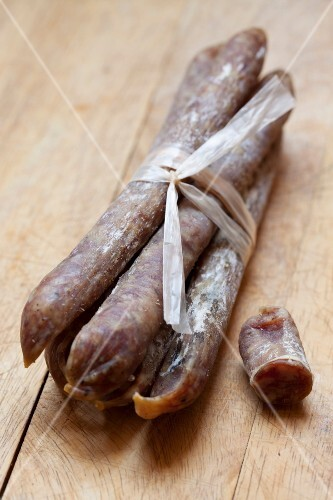 Bundle of dried sausages